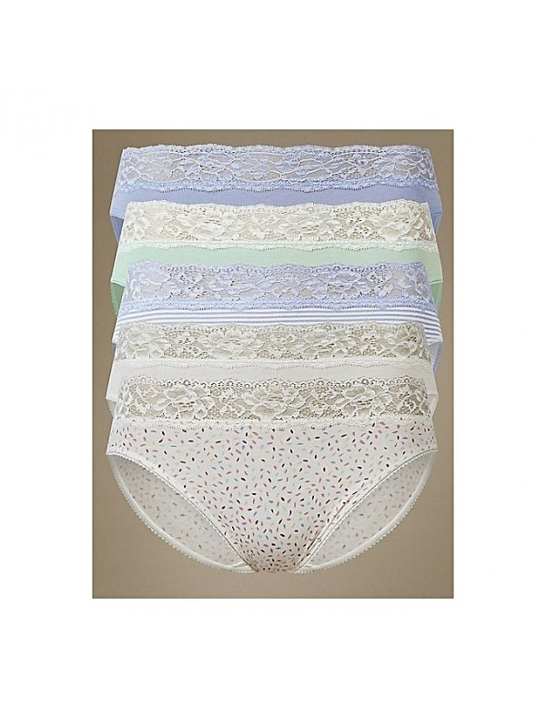 45359638db5b Pretty in pattern, our handy five pack of knickers are made from cotton  rich fabric so you can be pretty in comfort too. Compact spun to resist  colour fade ...
