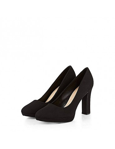 5e03a41d083a So stay effortlessly chic from day to night in these seriously comfortable block  heel platform-based courts in a black suedette finish.